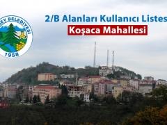 KOŞACA 2/B ALANLARI KULLANICI LİSTESİ